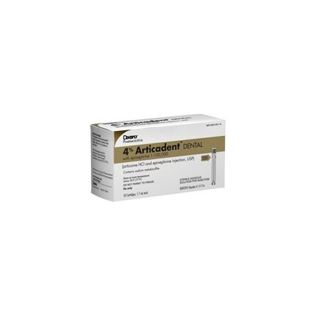 4% Articadent® Dental - 1.7 ml Injection Cartridges, 50/Box Articaine HCl 4% with Epinephrine