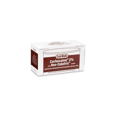 Cook Waite Mepivacaine HCl 2% Levonordefrin 1:20,000 Brown 50/Bx