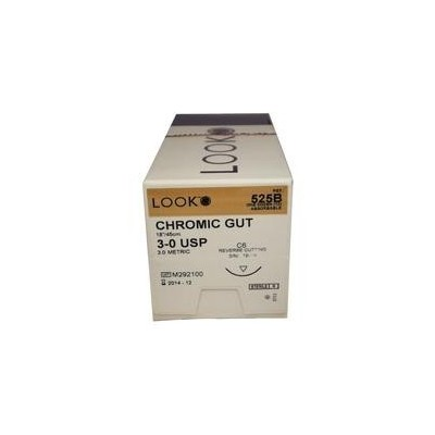 LOOK Chromic Gut Sutures - Absorbable, C3, Precision Reverse Cutting, 3/8 Circle, 12/Box