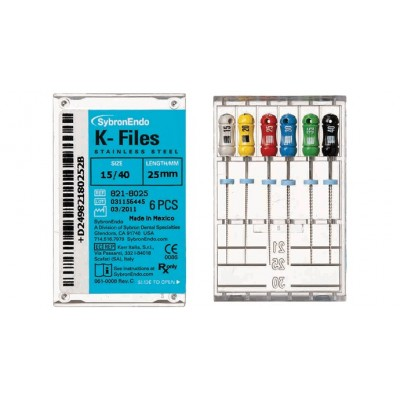 K-Files - 30 mm, Stainless Steel, Color Coded Plastic Handle, 6/Pkg