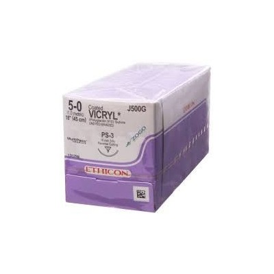 "Vicryl Suture 5-0 Polyglactin 910 PS-3 Undyed 18"" Braid 12/Bx"